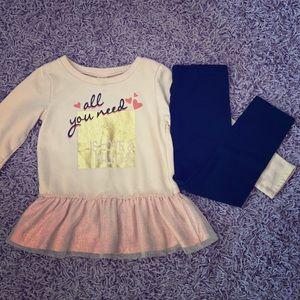 2 piece girls 5t tunic tutu sweatshirt & leggings